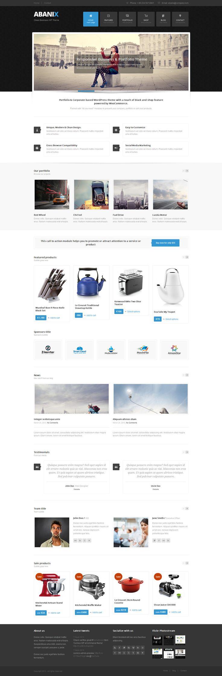Abanix Business, Portfolio & Shop  #wordpress #theme #website #template #responsive #design #webdesign #flat #flatdesign #portfolio #shop #modern #metro