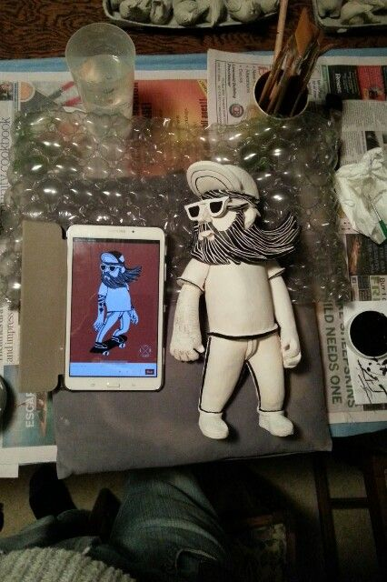 Ceramic Skateboard dude by Glen Colechin referenced from Lawerta Illustration