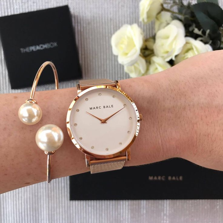 Marc Bale Rose Gold Crystal Mesh watch and Pearl Embrace Bangle by @thepeachbox