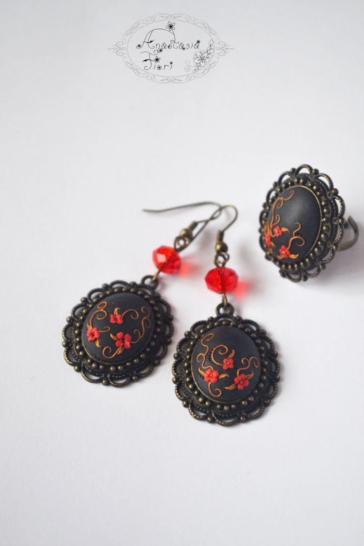 set Poppy flower, poppy, black earrings, filigree, polymer set, poppy earrings, red flowers earrings, gift for her by AnastasiaFioriBijou on Etsy