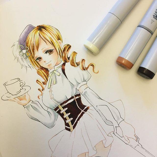 #drawing #illustration #copicsketch #madokamagica #mamitomoe #fanart #イラスト #コピックスケッチ #まどマギ #巴マミ ・ まどマギの巴マミを描き始めたけど、スカートを塗るのに使えそうな色を持っていないことが判明。 保留です😇