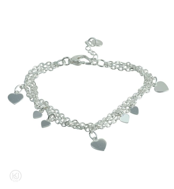 Lovette – Three Times the Love Bracelet – Wear your heart on your sleeve, with this beautifully crafted triple strand, diamond cut anchor style chain with sweetheart charms and heart shaped clasp with extender bracelet. Blending a playful style with a sophisticated edge this Sterling Silver bracelet is the perfect complement to enhance your jewelry collection and would make the perfect keepsake or gift for a loved one.