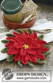 """Christmas: Crochet pot holder in """"Paris"""" with decorative flower in """"Cotton…"""