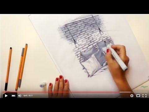 Интерьерный скетчинг: делаем маркерный скетч фрагмента интерьера с кирпичной стеной. - YouTube
