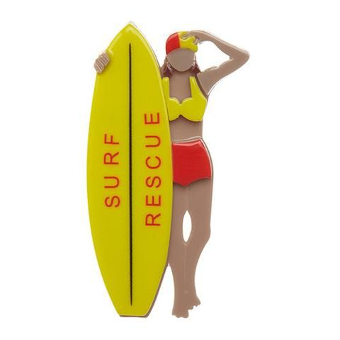 """Erstwilder Limited Edition Surf Rescue Brooch. """"Of course, Erstwildians always remember to swim between the flags. For everyone else, keep an eye out for that red and yellow."""""""