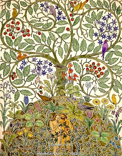 Textile design of Adam and Eve in Paradise, by C.F.A. Voysey. England, early 20th century