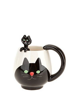 Animal Friends Mug Spoon SetFriends Mugs, Cat Mugs, Black Cats, Spoons Sets, Animal Friends, Things, Cat Cups, Kitchens Kitsch, Friends And Coffe