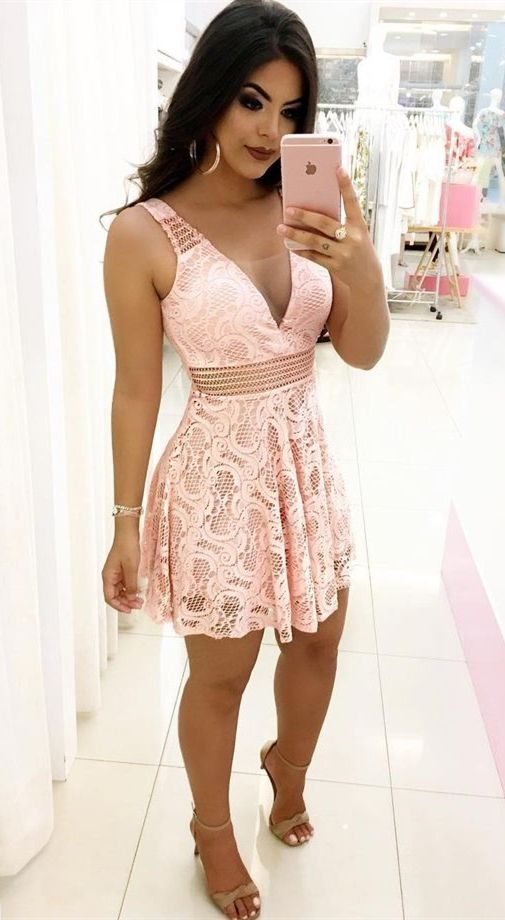 99b17836d0 A-Line V-neck Sleeveless Short Pink Lace Homecoming Dress in 2018 ...