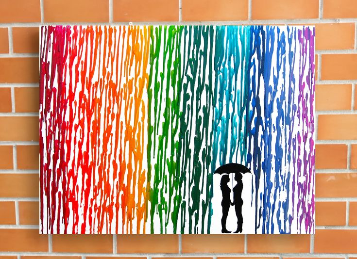 Lesbian Wedding Gift, Rainbow Melted Crayon Art, Gifts For Lesbian Couple, In The Rain Painting 16x20""