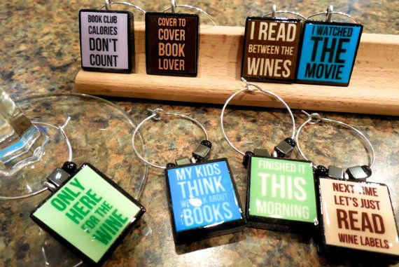 Book Club Scrabble Tile Wine Glass Charms by EssenTiles on Etsy, $25.00