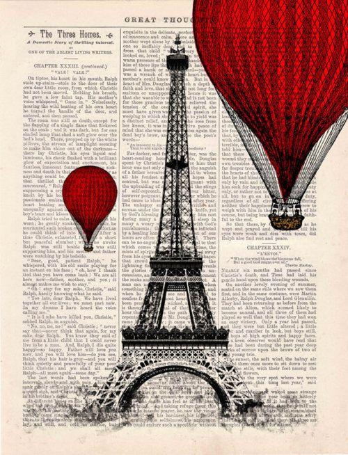 Eiffel Tower Balloon Ride Vintage Book Print, etsy