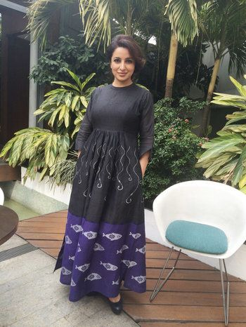Tisca Chopra in Hooked handwoven jamdani maxi dress