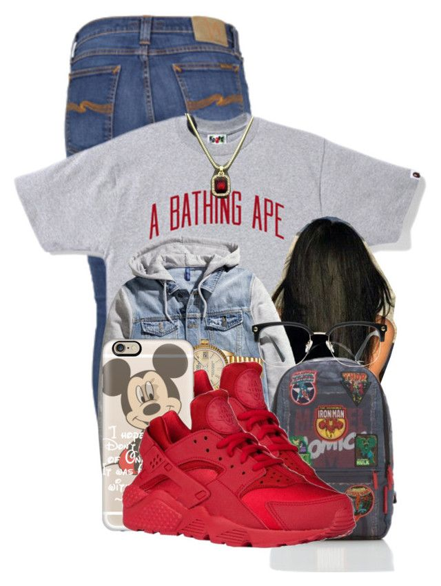 """""""❤"""" by aniahrhichkhidd ❤ liked on Polyvore featuring Nudie Jeans Co., A BATHING APE, Rolex, Casetify and GlassesUSA"""
