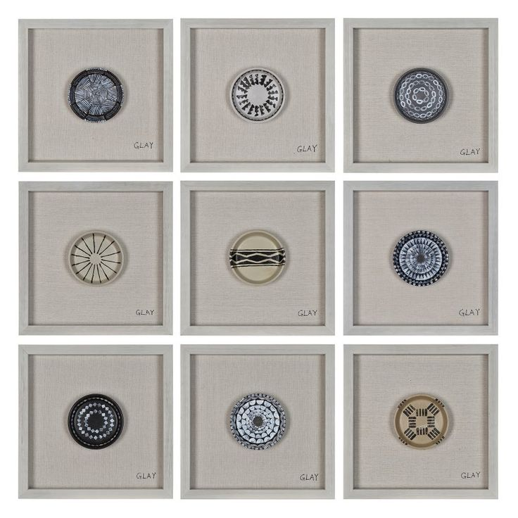 renwil buttons painted clay wall art set of 9 w6314