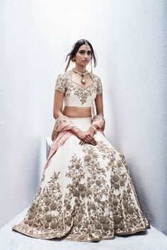 Sue Mue Campaign Champagne gold lehenga with emb roses