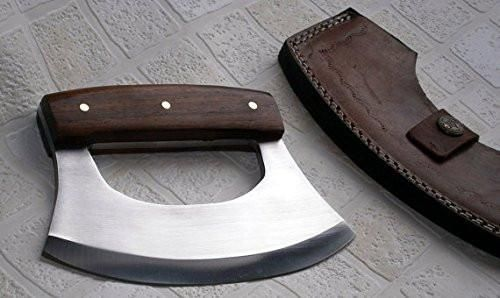 Badass Handmade 440C Stainless Steel/Damascus Ulu Knife - Beautiful Rose Wood Handle available on www.menforge.com