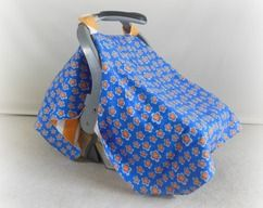 CLEARANCE Car Seat Canopy, Car Seat Cover, Cart Cover, Blanket in Orange Chevron and Purple & Orange Flowers NOW $17.50 USD  http://www.heavenboundhca.com/car-seat-canopy-cart-cover-blanket-in-flowers-chevrons-orange-and-white  www.HeavenBoundHCA.com