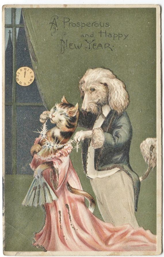 gentleman dog and lady cat in fancy dress with lots of bling new years card vintage postcards pinterest cats dogs and cat christmas cards