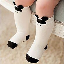 Criança joelho meias altas para recém-nascidos do bebê meninos meninas antiderrapantes crianças longo meia com sola de borracha Animal dos desenhos animados Mickey Kitty Cat(China (Mainland))