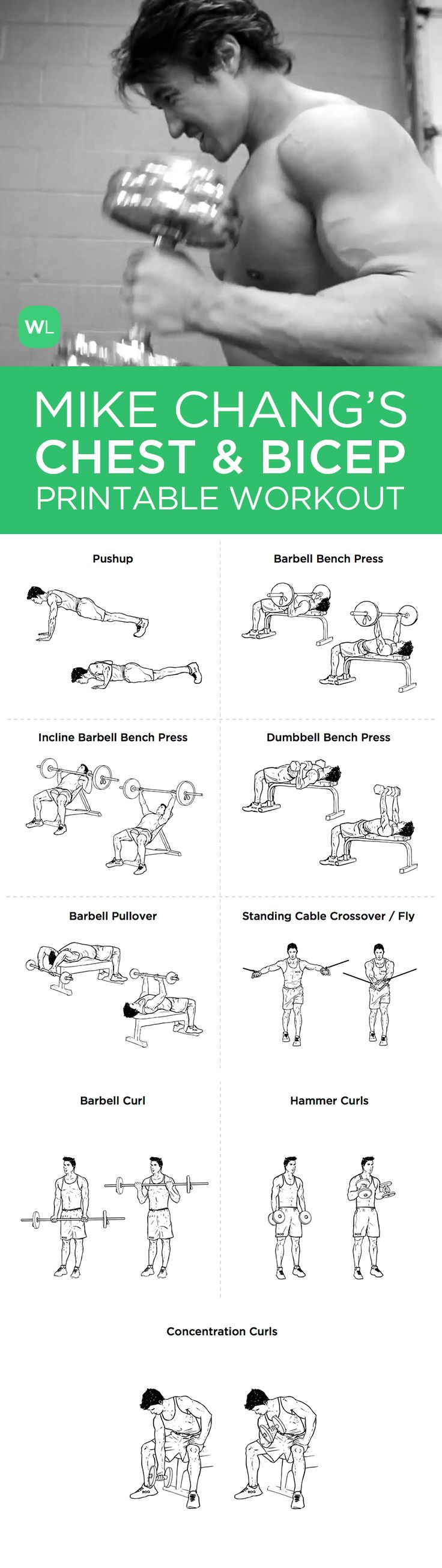 Visit http://workoutlabs.com/workout-plans/mike-changs-actual-chest-and-bicep-workout-printable-routine/ for a FREE PDF of Mike Chang's Chest and Bicep printable workout with easy-to-follow exercise illustrations.