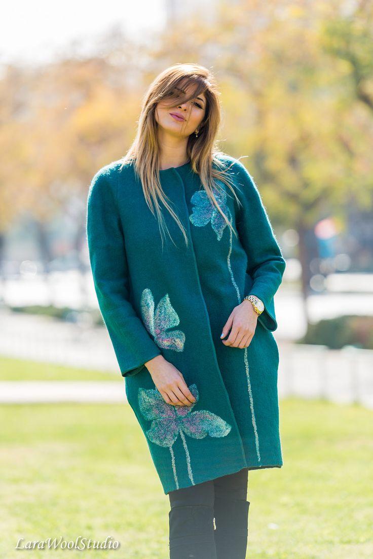Green coat Fashion Spring Wool Coat Silk Flower Decor Knee Length Woman Warm Elegant Long Jacket Loose Fit Oversized Light Wool Coat by LaraWoolStudio on Etsy