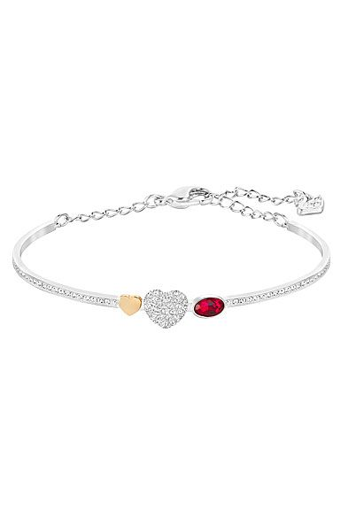 Swarovski Miranda Kerr Crystal and Siam Duo Heart Bangle Bracelet