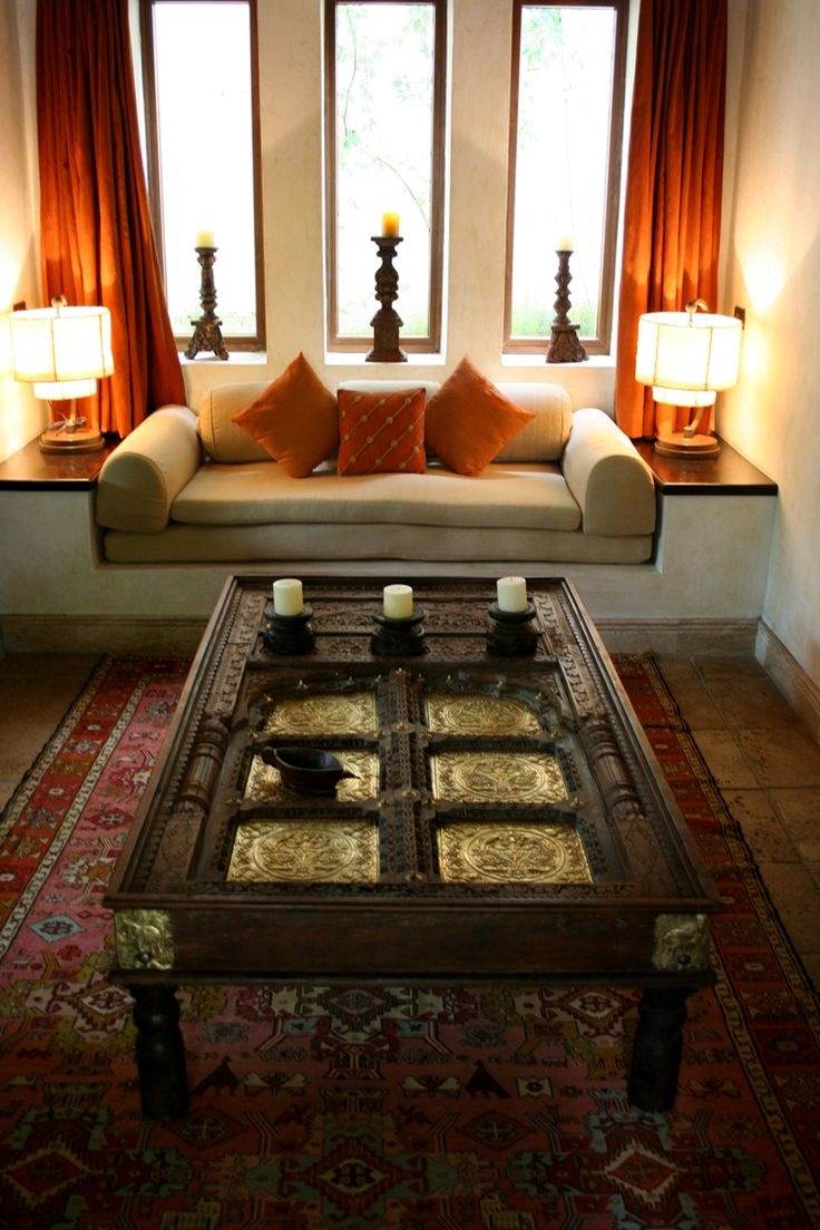 Indian window frame made into a coffee table.