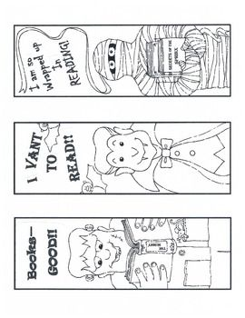 freebie cute halloween bookmarks - Halloween Bookmarks To Color