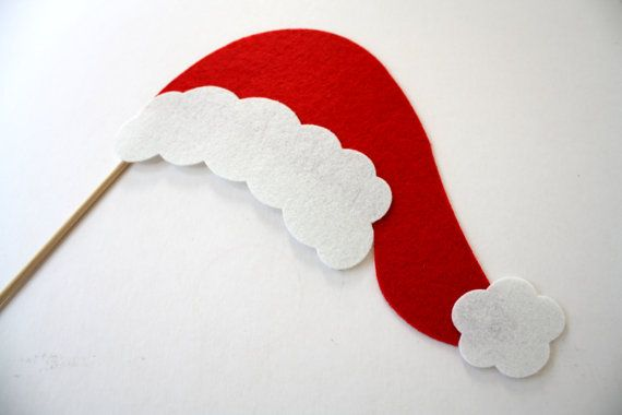 Photo Props. Party Props. Christmas Props. Photo booth Props. Holiday Photo Props. Hat on a Stick - pair with red and green glasses for Mrs. Clause.