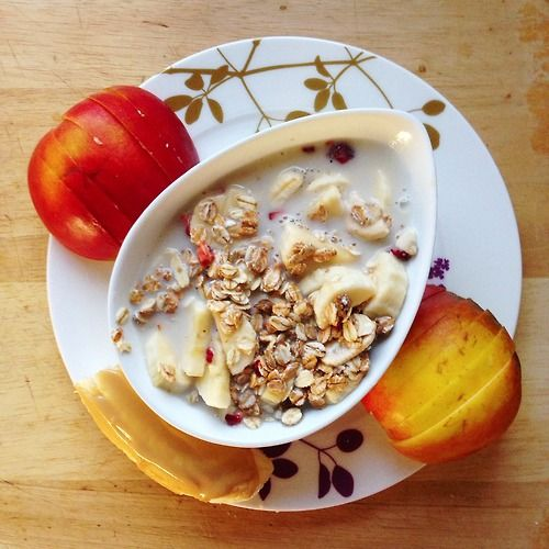 """""""Post-workout breakfast: Runners power muesli from mymuesli with almond milk and banana, banana with pb and an apple. Time to go for a run soon."""""""