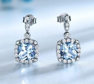 21e00a9c0 UMCHO Solid 925 Sterling Silver Drop Earrings For Women Sky Blue Topaz  Gemstone Fine Jewelry Christmas Party Gift Fine Jewelry