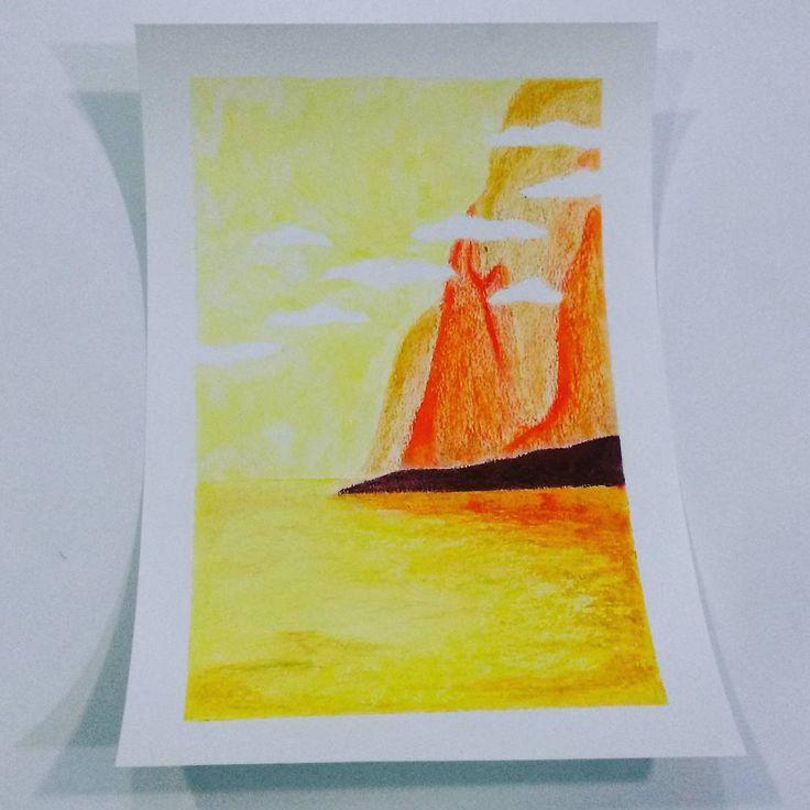 #Paisaje de Nerea con #ceras #manley  #art #artesalamanca  #artwork  #cubogaleriaadultos2015 #color #draw #dibujo…