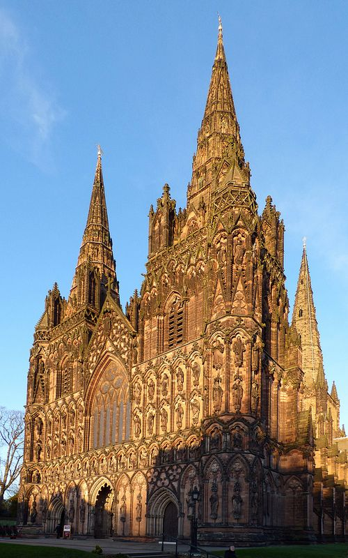 Lichfield, Staffordshire, is the only medieval English cathedral with three spires.