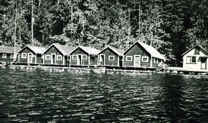 Early float camp operated by the Moore family at Winter Harbour northern Vancouver Island.