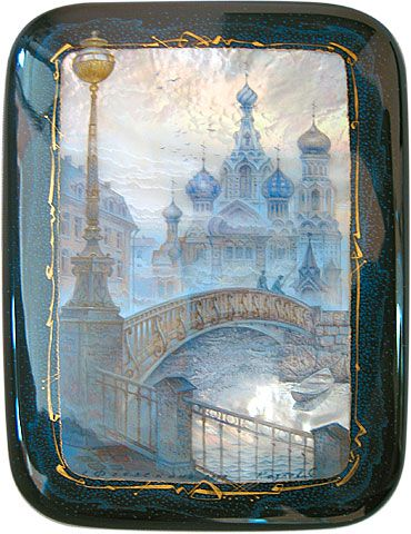 "Sergey Kozlov, Fedoskino lacquer box, From the serie ""St. Petersburg"", 2000"