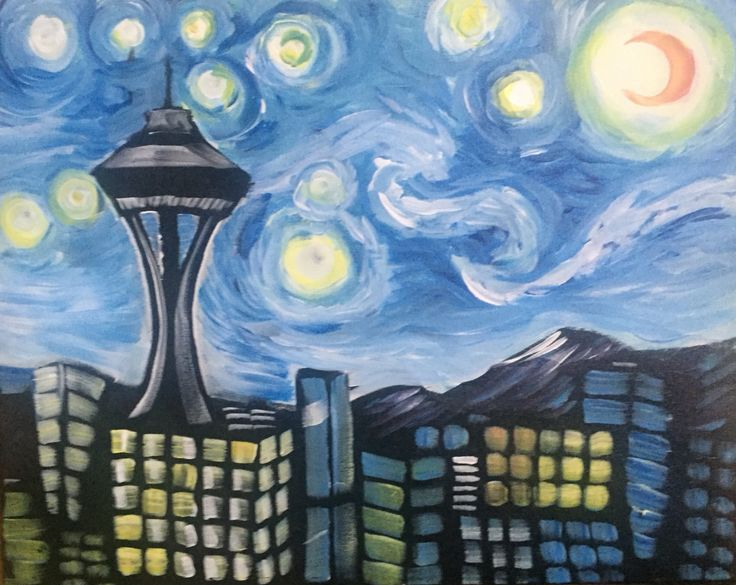 Starry Space Needle created for Paint Nite with art love and light!