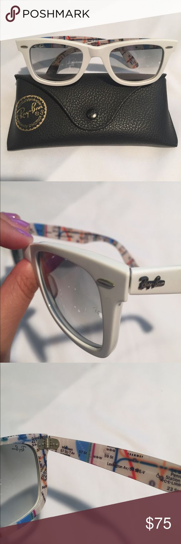white ray bans limited edition new york city subway map wayfarer Ray-Ban Accessories Sunglasses