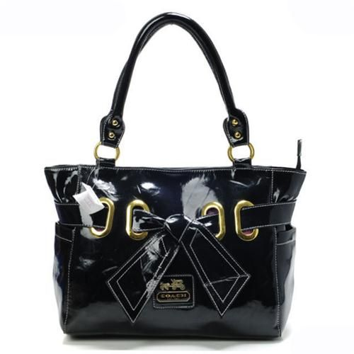 Look Here! Coach Poppy Bowknot Smooth Medium Black Totes AQU Outlet Online