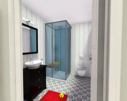 3d floor plans - konstadina nastou decorator- Greece- http://kinteriorsblog.wordpress.com/ #floorplans #roomsketcher #bathroom #black #white #red