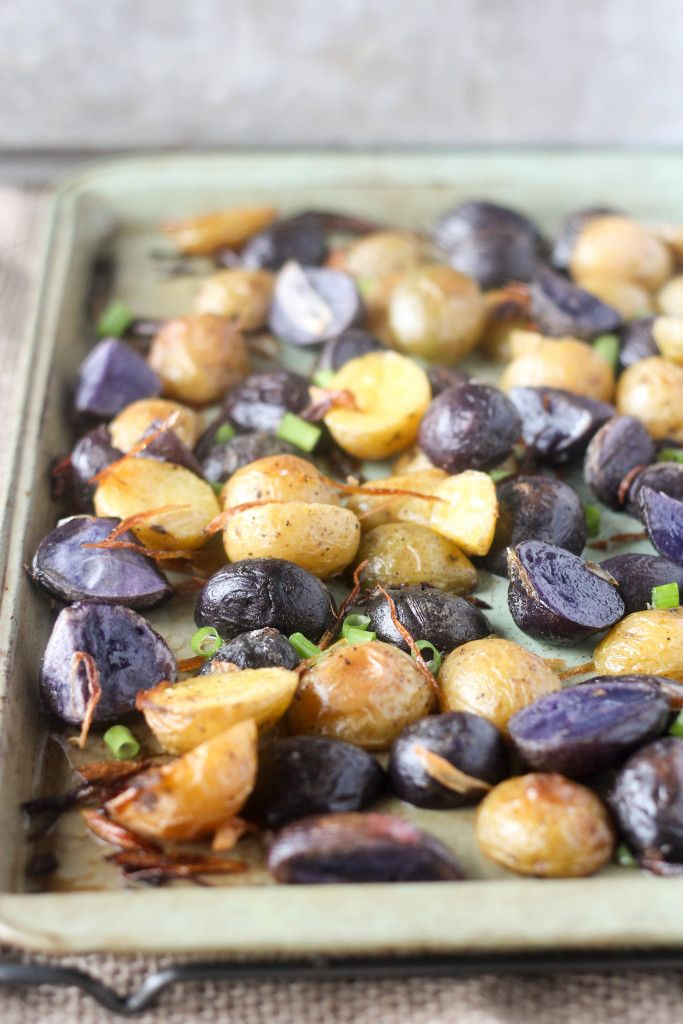 Crispy Roasted Purple Potatoes with Fried Shallots: