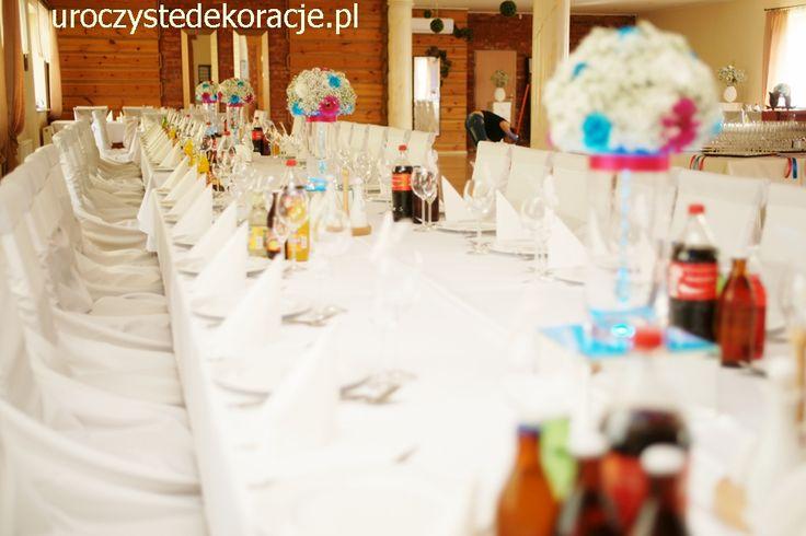 Bukiety na stołach gości sala Wenus Myszków