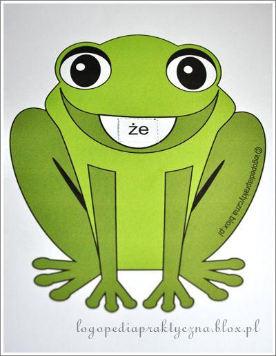 """Suwak logopedyczny zna chyba każdy logopeda. Dziś propozycja, jak zrobić suwak logopedyczny do utrwalania prawidłowej wymowy głoski """"Ż"""". Pobieramy szablon żabki oraz paski z sylabami. Drukujemy. Wycinamy w miejscach linii przerywanych. I gotowe! Ważna uwaga: W miejscu, gdzie żabka ma buzię wykonujemy tylko nacięcia tak, aby łatwo było wsunąć suwak z sylabami. Najlepiej wydrukować wszystko"""