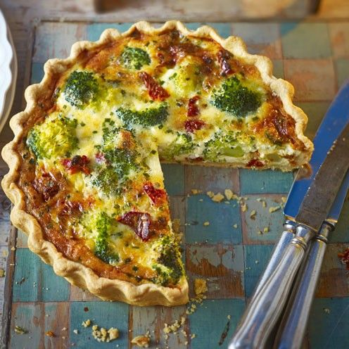Broccoli And Tomato Quiche - shortcrust pastry, broccoli, medium eggs, double cream, cheddar cheese, chives, sun-dried tomatoes