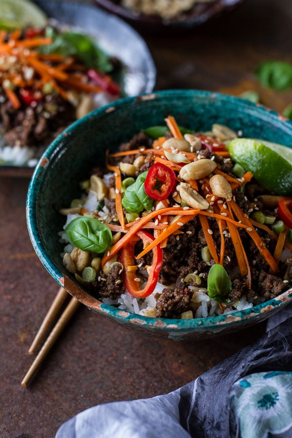 Thai Basil Beef and Lemongrass Rice Bowls | The lemongrass and basil really bring this dish to the next level and everyone is sure to love it!