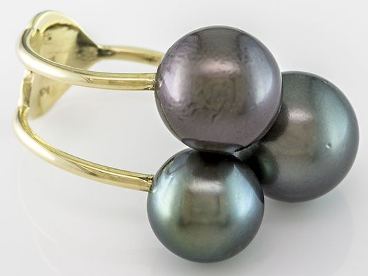 9-11mm Multi-color Cultured Tahitian Pearl 14k Yellow Gold 3-stone Open Ring