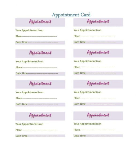 Printable Appointment Cards Appointment Cards Card Templates Free Card Template