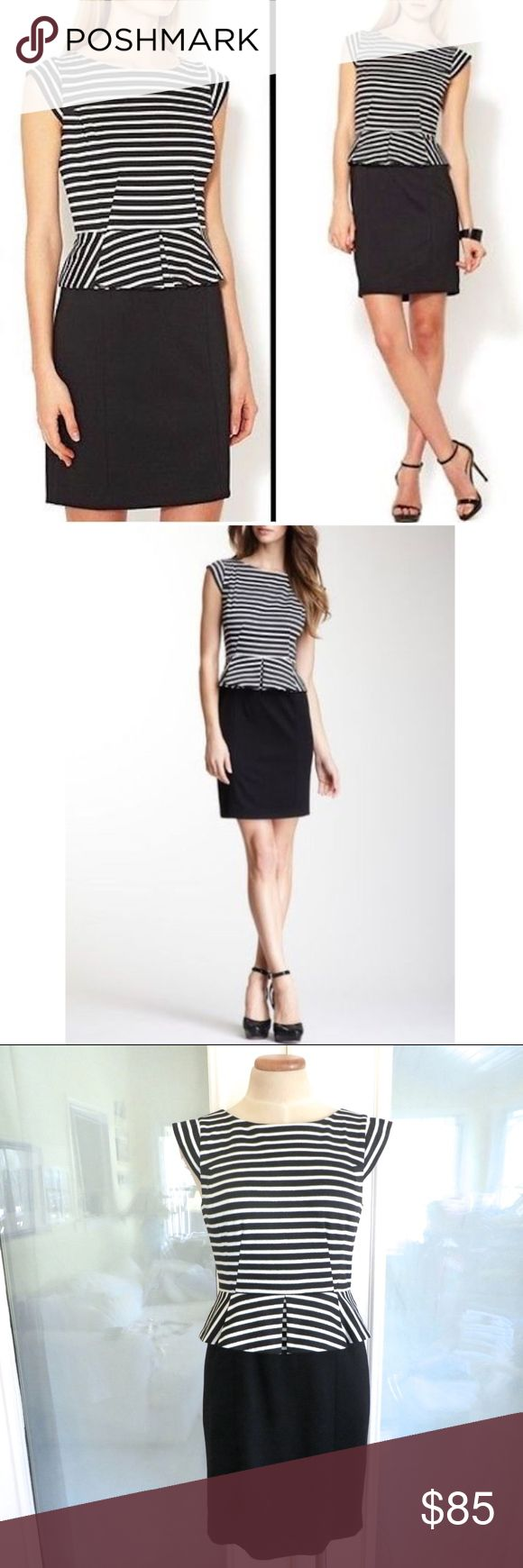 """NWT 🦋 CYNTHIA STEFFE New with reticket tags and no defects. Style name: Dylan. Size 4. Black white and silver metallic stripe top with solid black skirt, peplum silhouette, cap sleeves, mini length.  Approximately 16.5"""" across armpit seam to armpit seam, 14.5"""" across at smallest part of waist, 35"""" long.   Retails for $238.  Automatically reduce price 20% for 3+ bundles. Cynthia Steffe Dresses Mini"""