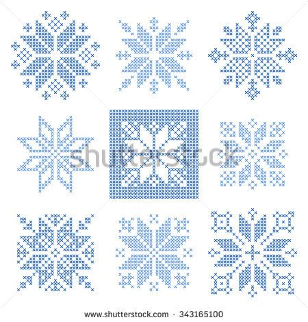 Set of 9 cross-stitch snowflakes pattern, Scandinavian style. Geometric  ornament for embroidery.  Perfect for Christmas design.   Vector illustration
