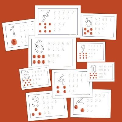 Lectoescritura con números. Fichas de infantil