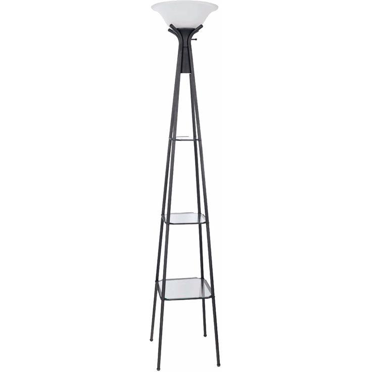 Black Floor Lamp With Shelves: Coaster Company Black Metal and Glass Floor Lamp with Shelves (Charcoal Black  Floor Lamp),Lighting